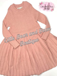 Pleated Sweater Dress- Blush