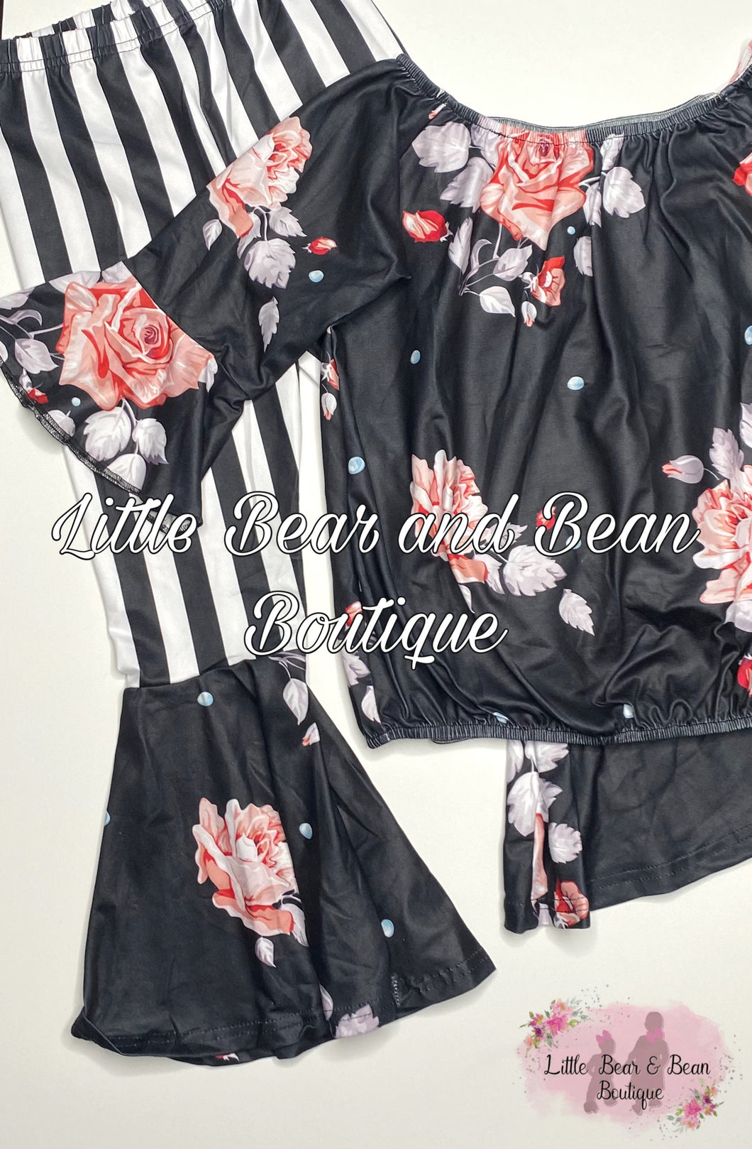 Black and White Striped Floral Set