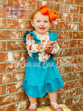 Load image into Gallery viewer, Pumpkin Truck Teal Suede Suspender Set