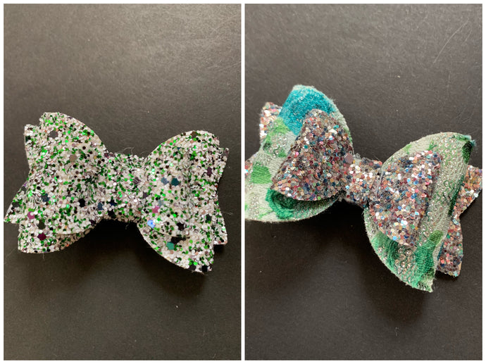 Green Sparkle 3 Inch Bow on Alligator Clip