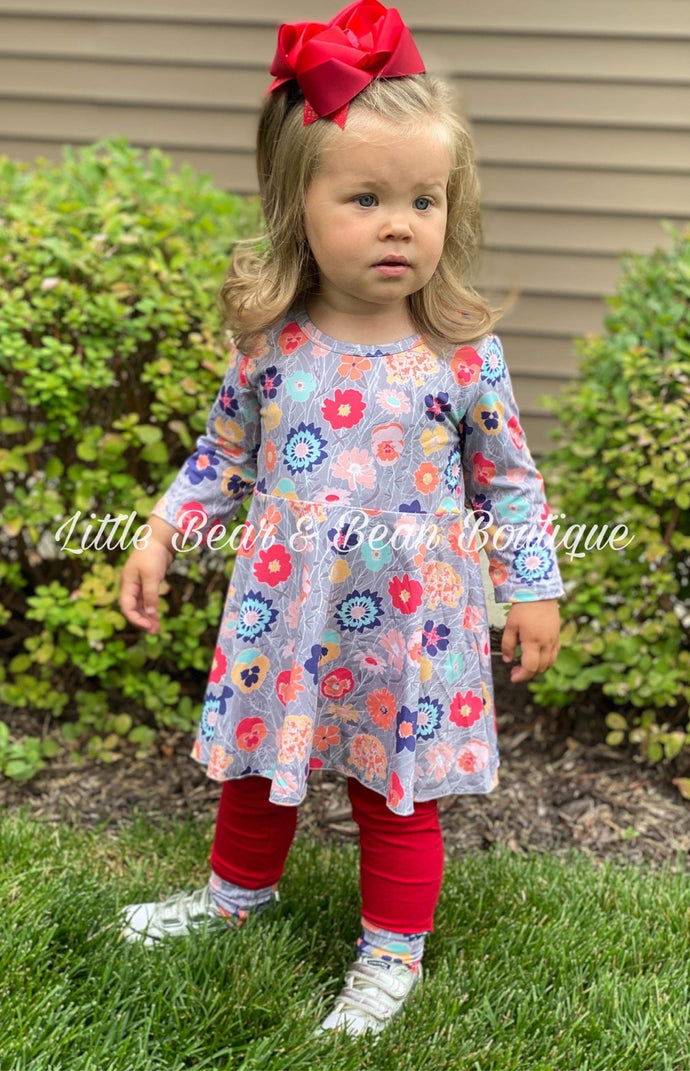 Gray and Red Floral Tunic Set