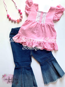 Pink Tunic and Denim Belle Set