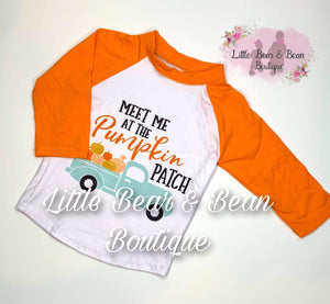 Meet Me at the Pumpkin Patch- Orange Sleeve Shirt