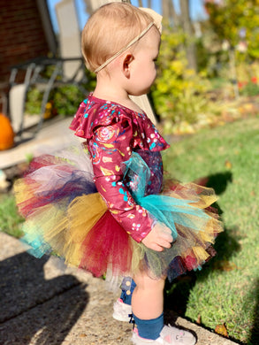 Cabernet Floral Ruffle Onesie and Handmade Tutu (optional)