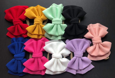 Solid Color 6 Inch Fabric Bows on Nylon Headband