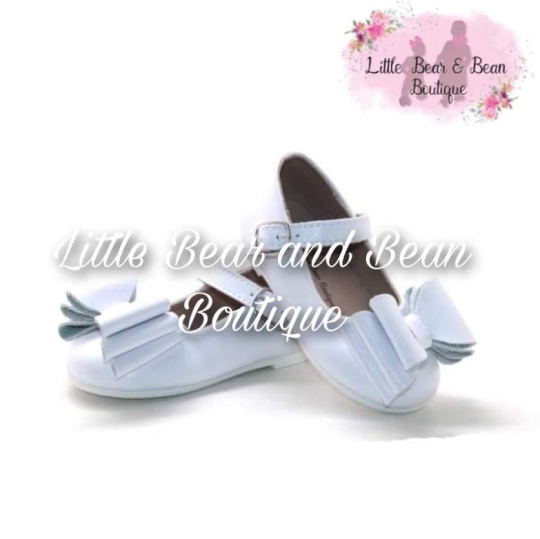 White Triple Bow Mary Jane Shoes