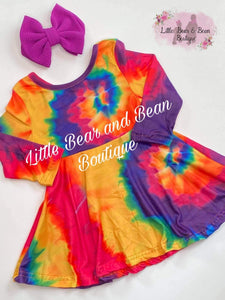 Vibrant Tie Dye Twirl Dress