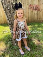 Load image into Gallery viewer, Cheetah Lace Trim Romper