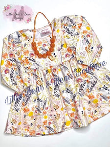 Cream Fall Floral Dress