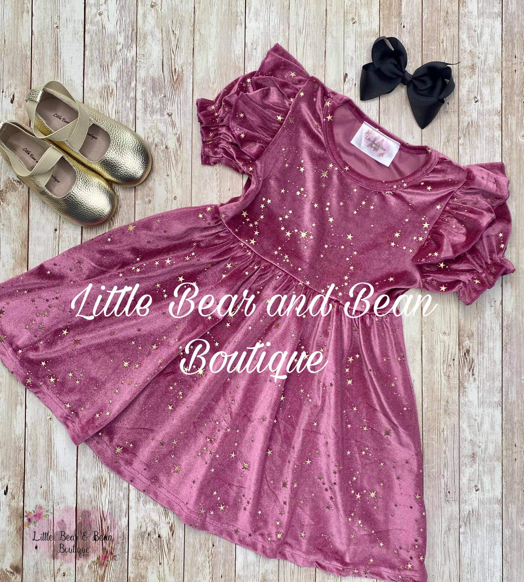 Velvet Star Short Sleeve Dress -Sangria