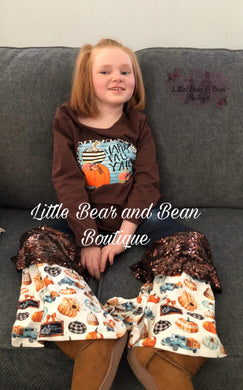 Happy Fall Y'all Denim Belle Set with Sequin Accents