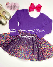 Load image into Gallery viewer, Purple Confetti Super Twirl Dress