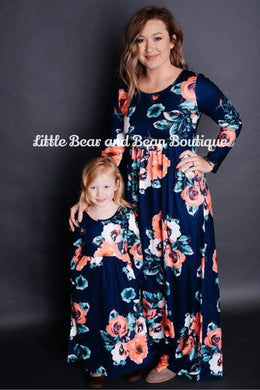 Mommy and Me Navy Floral Maxi Dress Child