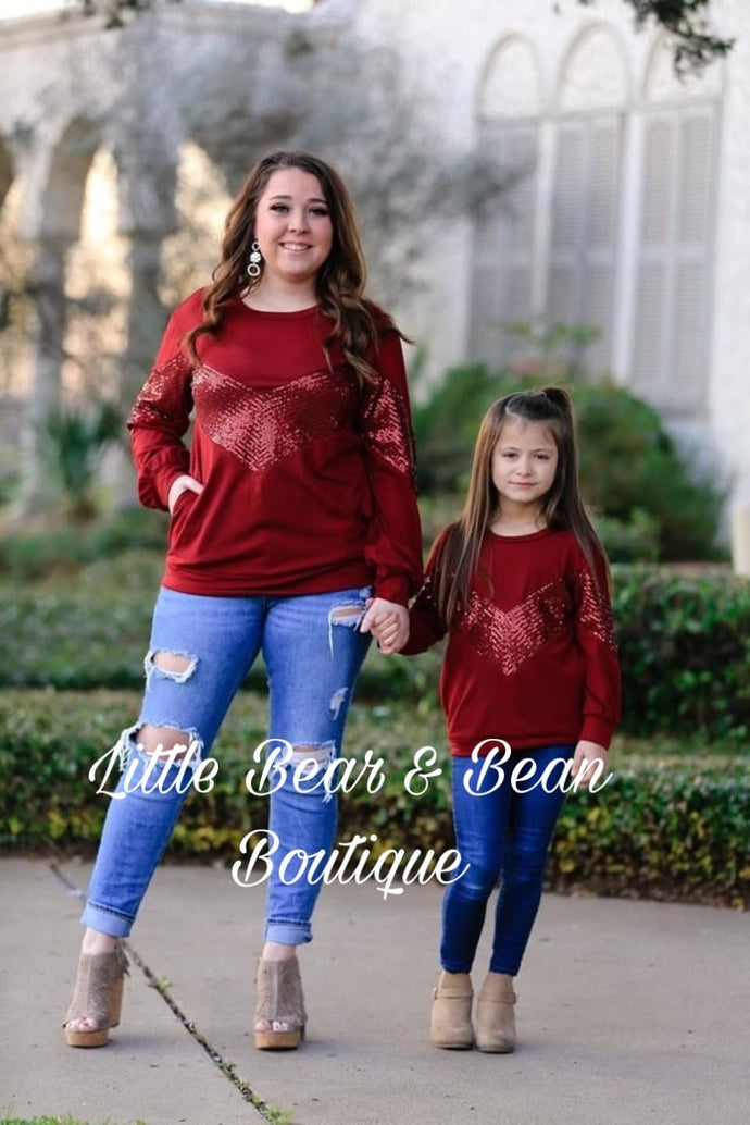 Wine Sequin Top Child