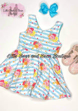 Load image into Gallery viewer, Sky Blue Striped Floral Bow Back Dress