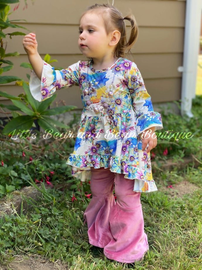 Watercolor Floral Tunic with Velvet Belle Leggings