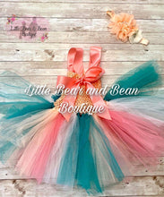Load image into Gallery viewer, Peach Shell Top Mermaid Tutu Dress with Headband
