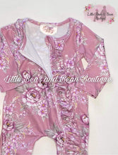 Load image into Gallery viewer, Lavender Floral Zipper Ruffle Sleeper