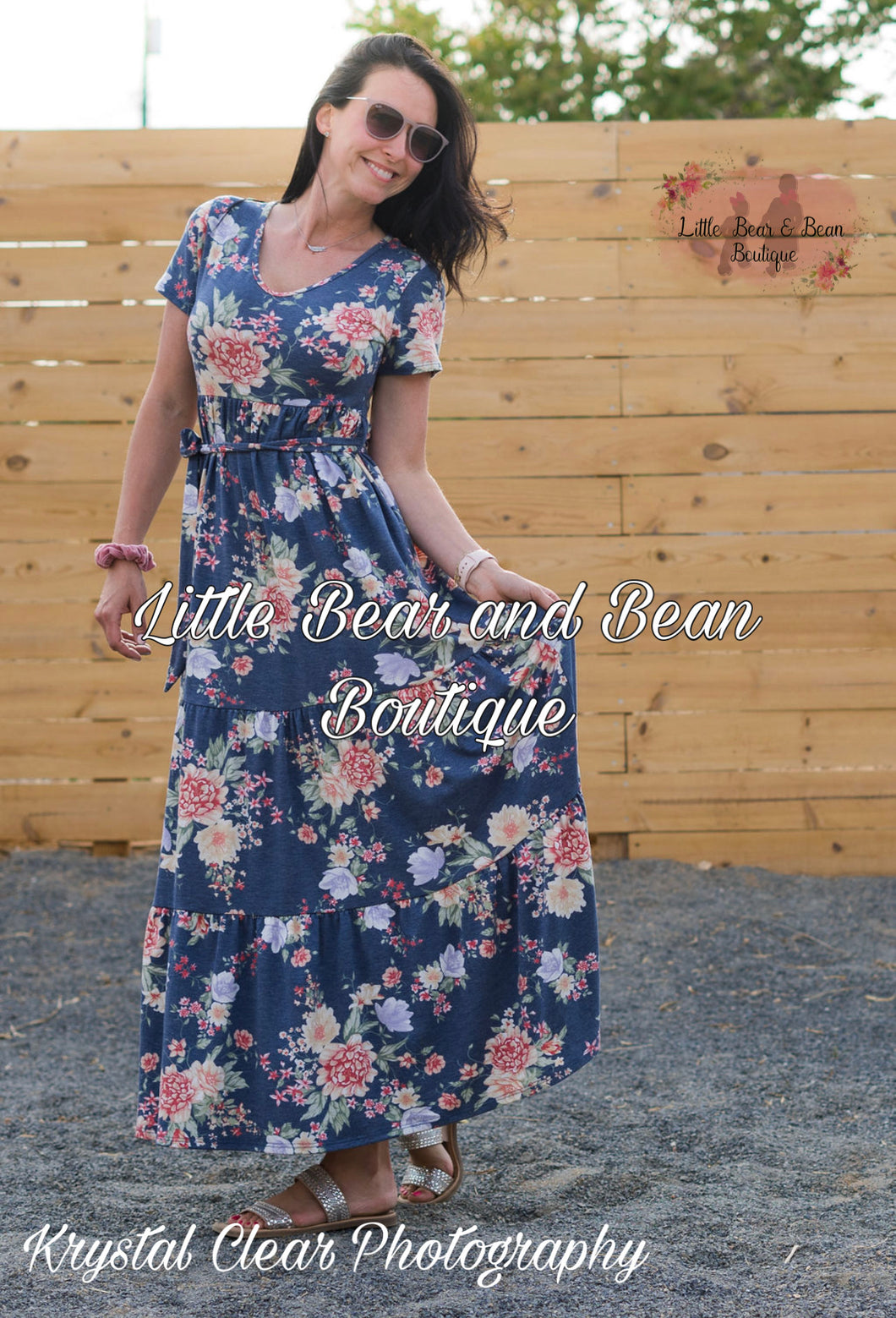 Ladies Blue Floral Jersey Maxi