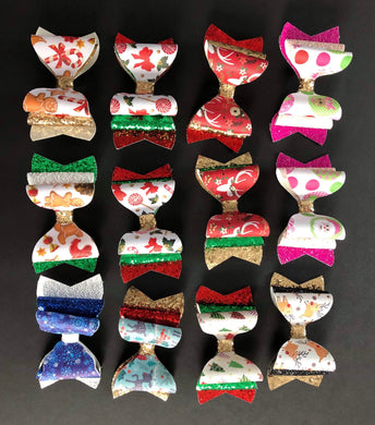 Assorted Holliday 4 Inch Bow on Alligator Clip