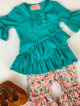 Load image into Gallery viewer, Teal Ruffle Tunic