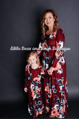 Mommy and Me Wine Floral Maxi Dress Child