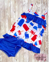 Load image into Gallery viewer, Red, White, and Blue Tankini Swimsuit
