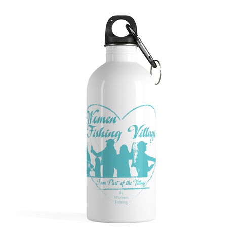 WomenFishing Village Blue Stainless Steel Water Bottle