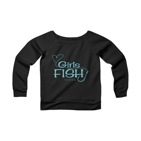 Girls Fish Fleece Wide Neck Sweatshirt