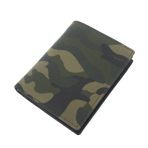 Khaki Military Camouflage Genuine Leather Bifold Wallets