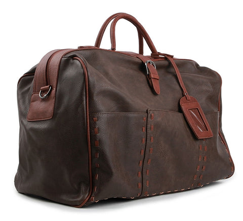 Brown Large Travel Vintage Faux Leather Duffle Gym Bags