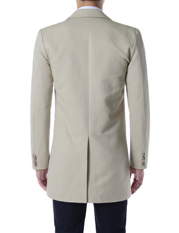 Beige Classic Single Breasted Cotton Overcoats