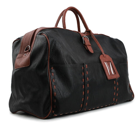 Black Large Travel Vintage Faux Leather Duffle Gym Bags