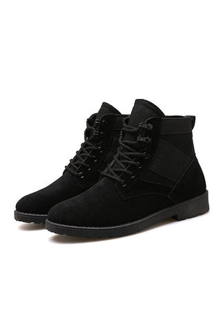 Black Faux Suede Ankle Boots Shoes