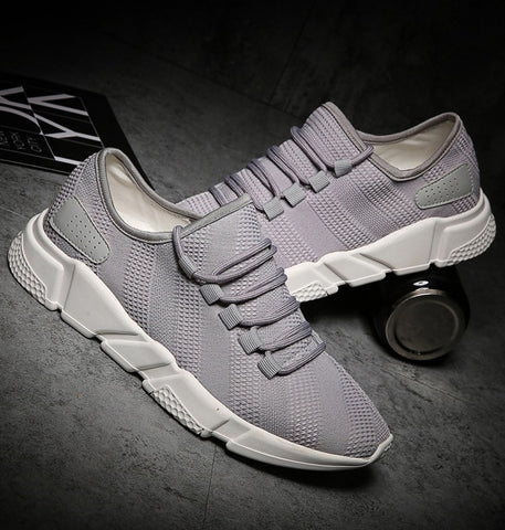 Gray Cotton Lace-up Tennis Shoes Sneakers