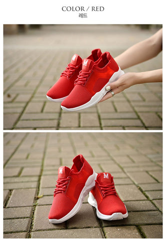 Red Unisex Athletic Sneakers Shoes