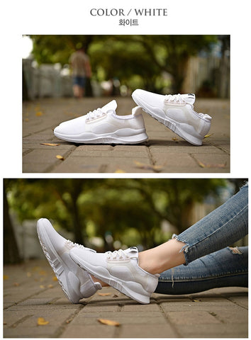 White Unisex Athletic Sneakers Shoes