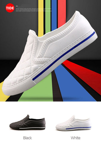 Unisex Quilted Faux Leather Slip-ons Shoes