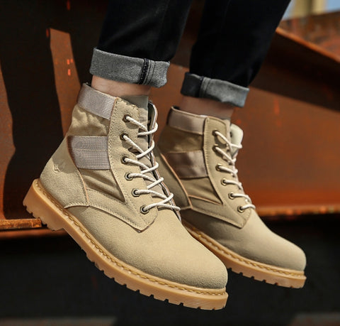 Beige Synthetic Suede Boots