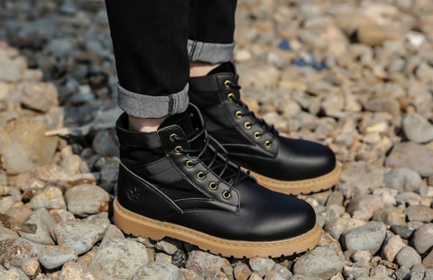 Black Synthetic Leather Boots