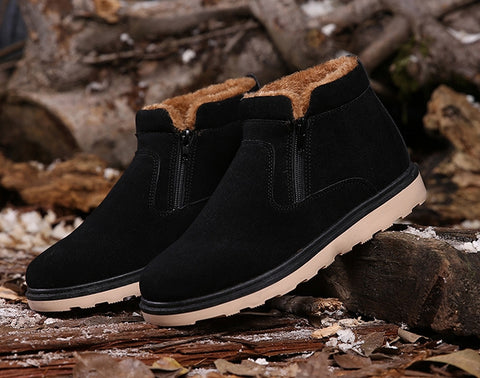 Black Side Zipper Fur Lining Suede Boots