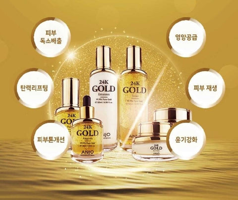 ANJO 24K Gold Skin Care 6 SET Korean Womens Anti Wrinkle Cosmetics
