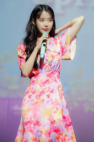 IU Pink Buttoned Floral Dresses Kpop Singer Short Sleeved Long Flower