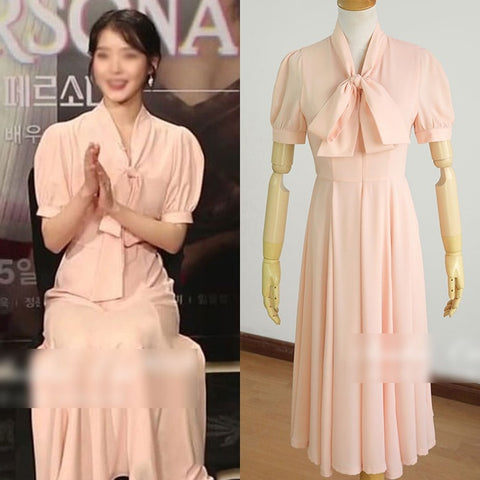 IU Elegant Pink Ribbon Bow Dresses Kpop Singer Short Sleeved Sheer