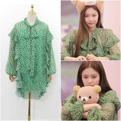 Green Stars Pattern Ruffled Sheer Dresses Kpop Style Blackpink Jenny