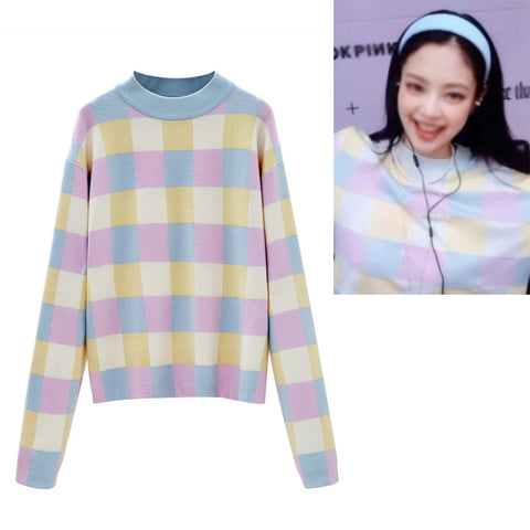 Multi-Colored Checkered Sweaters Blackpink Jennie Mock Neck Kpop Celeb