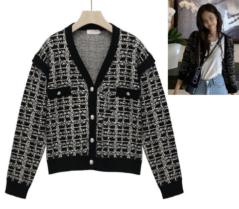 Black Luxury Cardigans For Women V-Neck Blackpink Jennie Kpop Celeb