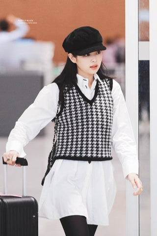 Black White Houndstooth Womens Vests Blackpink Jennie Airport Outfits