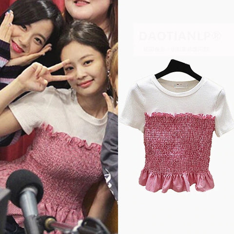White Pink T-Shirts Womens Blackpink Jennie Casual Short Sleeved Tops