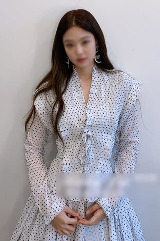 White Jenny Han Ye Seul Polka Dots Dresses Korean Actress Kpop Idol